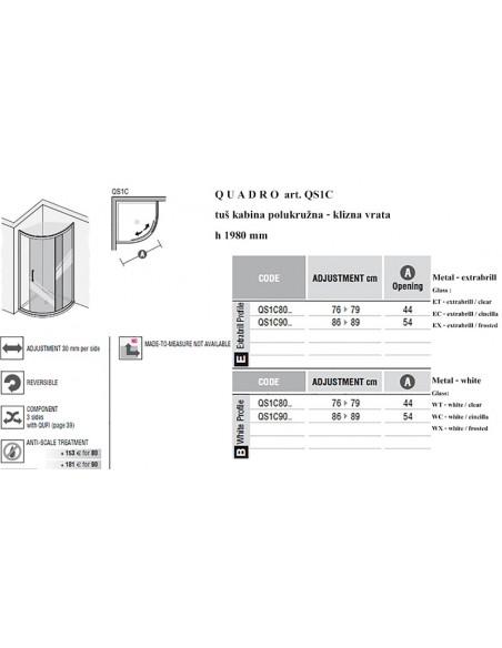 QUADRO  art. QS1C polukružna kabina
