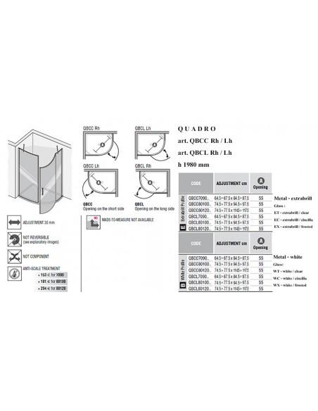 QUADRO art. QBCC i art.QBCL polukružna kabina