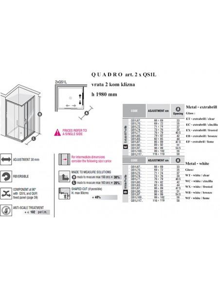 QUADRO art. 2XQS1L klizna vrata x 2kom