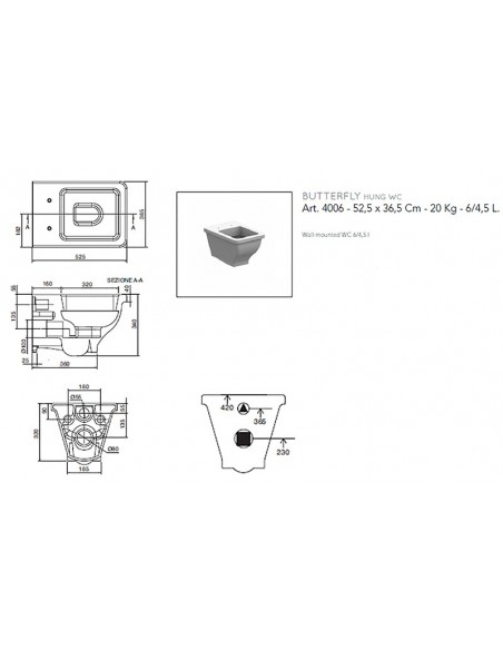 BUTTERFLY art.4006 WC Šolja konzolna 52,5x36,5