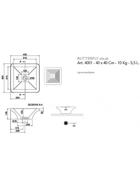 BUTTERFLY art.4001 Lavabo 40x40x14,5h