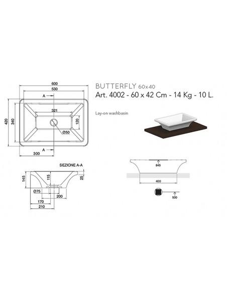 BUTTERFLY art.4002 Lavabo 60x42x14,5h