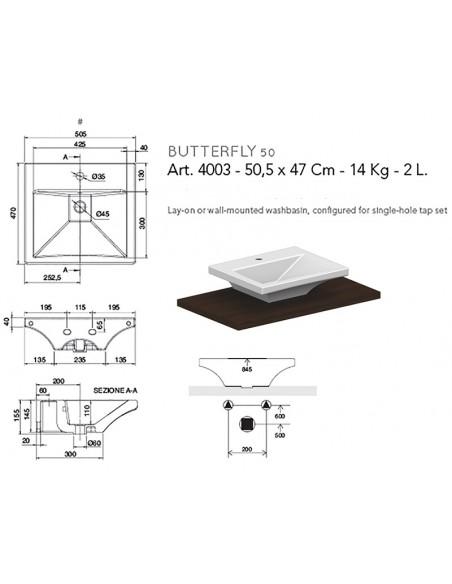 BUTTERFLY art.4003 Lavabo 50,5x47x14,5h