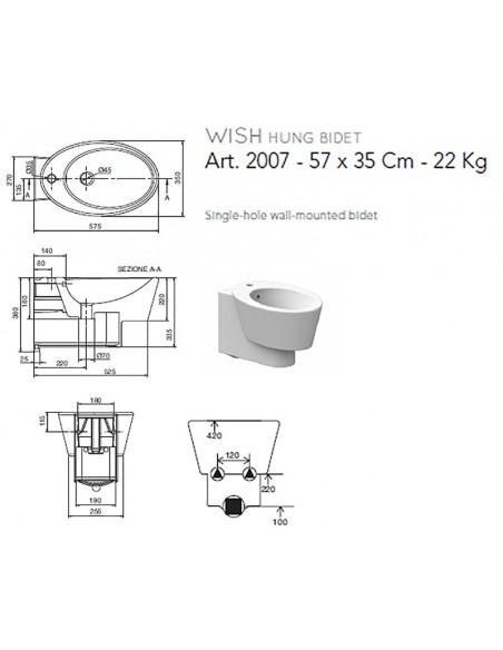 WISH art.2007 Bide konzolni 57x35