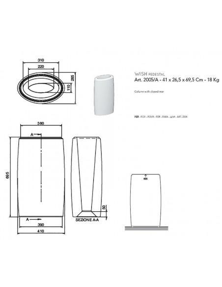 WISH art.2005/A Stub za lavabo/centar 41x26,5x69,5h