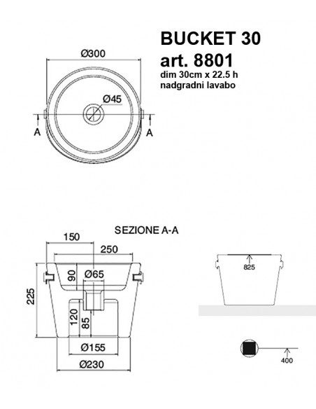BUCKET art.8801 fi30 dim 30x22.5h