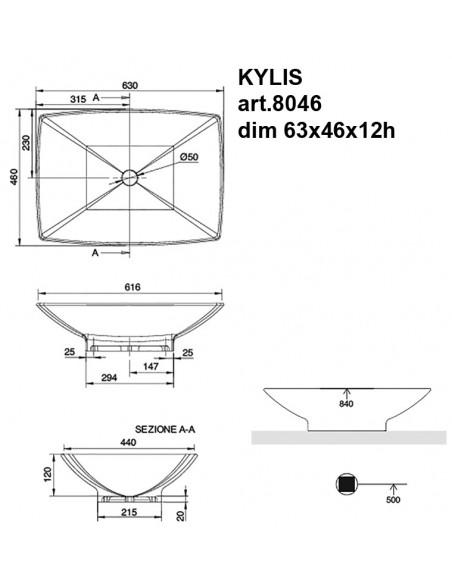 KYLIS art.8046 Lavabo dim 63x45x12h