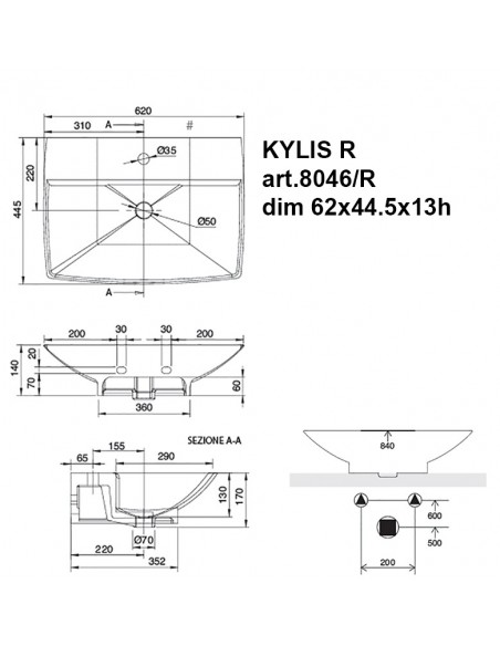 KYLIS art.8046/R Lavabo dim 62x44.5x13h