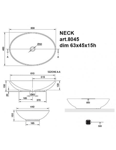 NECK art.8045 Lavabo dim 63x45x15h