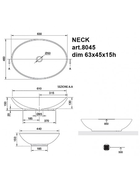 NECK art.8045 Lavabo dim 63x45x15h