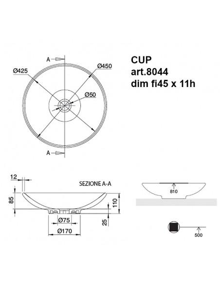CUP art.8044 Lavabo dim fi45 x 11h