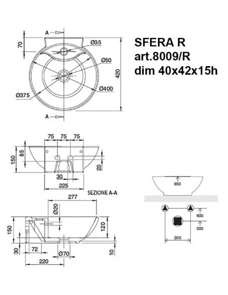SFREA R art.8009/R Lavabo dim 40x42x15h