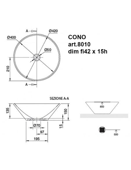 CONO art.8010 Lavabo dim fi42 x 15h