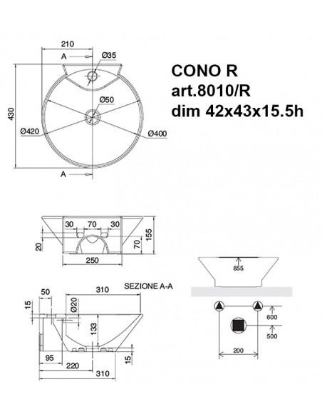CONO R art.8010/R Lavabo dim 42x43x15.5h
