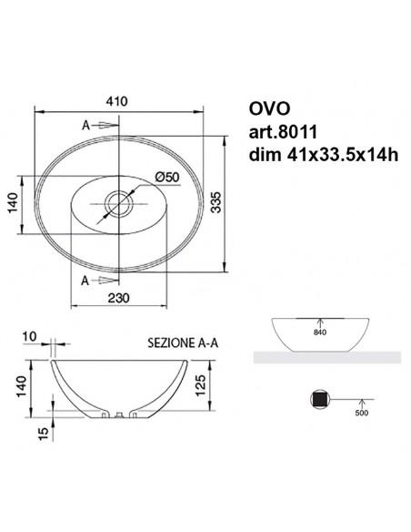 OVO art.8011 Lavabo dim 41x33.5x14h