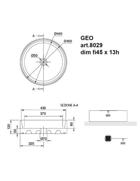 GEO art.8029 Lavabo dim fi45 x 13h