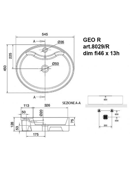 GEO R art.8029/R Lavabo dim fi46 x 13h