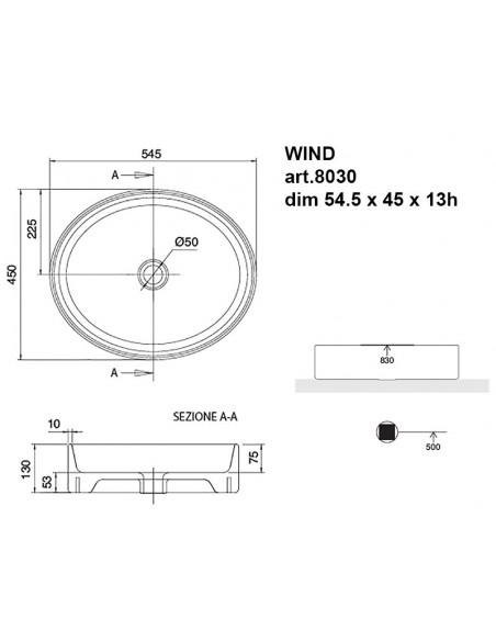 WIND art.8030 Lavabo dim 54.5x45x13h