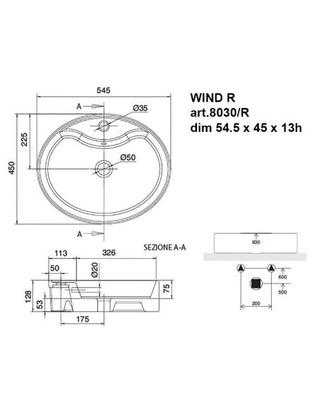WIND R art.8030/R Lavabo dim 54.5x45x13h