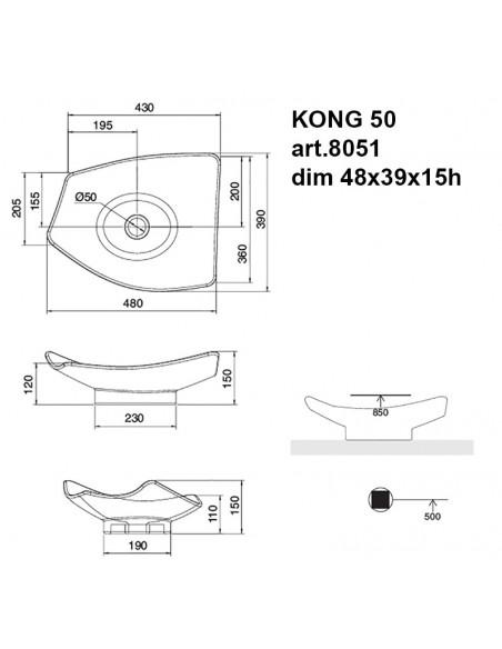 KONG art.8051 Lavabo dim 48x69x15h