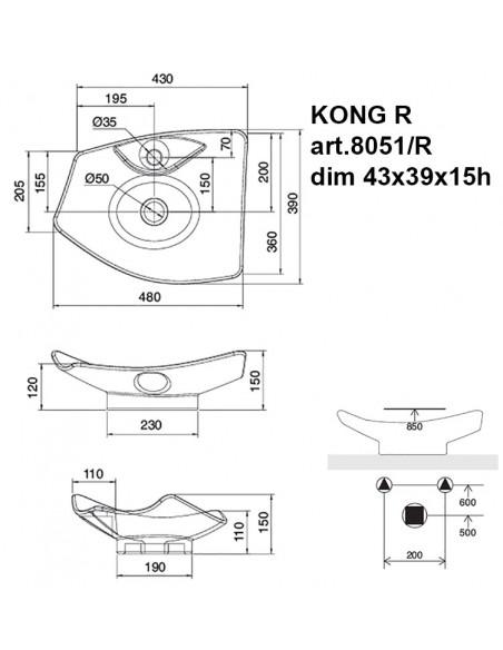KONG R art.8051/R Lavabo dim.43x39x15h