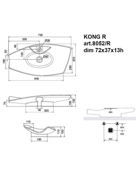 KONG R art.8052/R Lavabo dim 72x37x13h