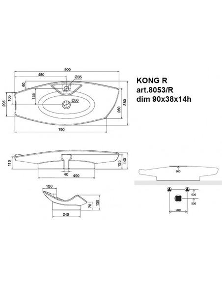 KONG R art.8053/R Lavabo dim 90x38x14h