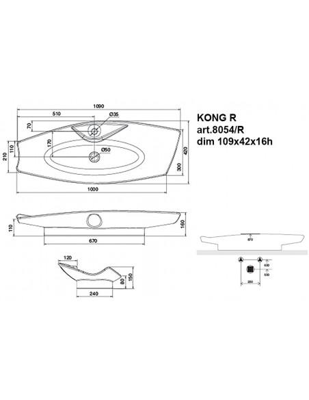 KONG R art.8054/R Lavabo dim 109x42x16h