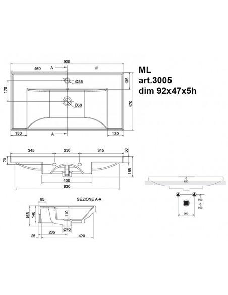 ML art.3005 Lavabo dim 92x47x5h