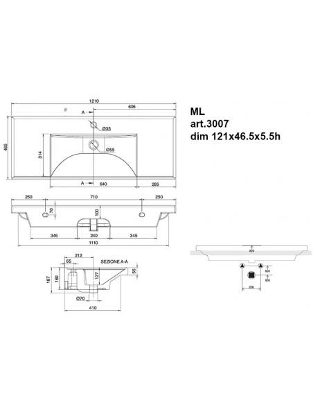 ML art.3007 Lavabo dim 121x46.5x5.5h