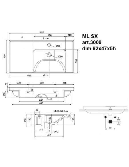 ML art.3009 SX Lavabo dim 92x47x5h