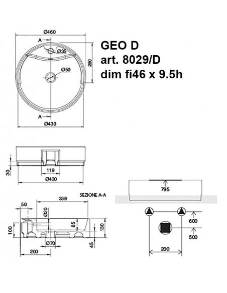 GEO D art.8029/D Lavabo dim fi46 x 9.5 h