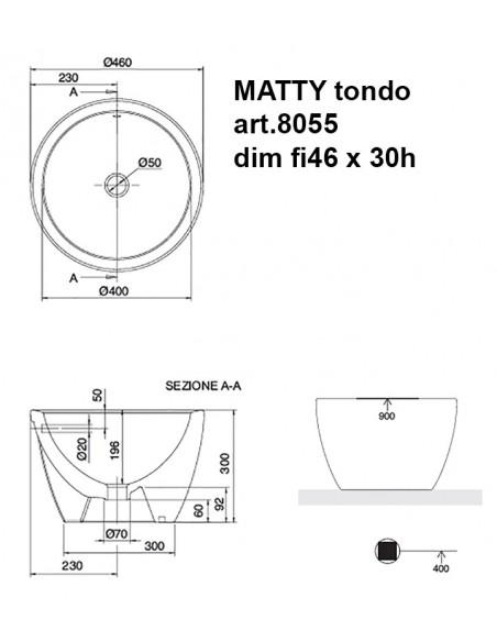 MATTY tondo art.8055 dim fi46x30h