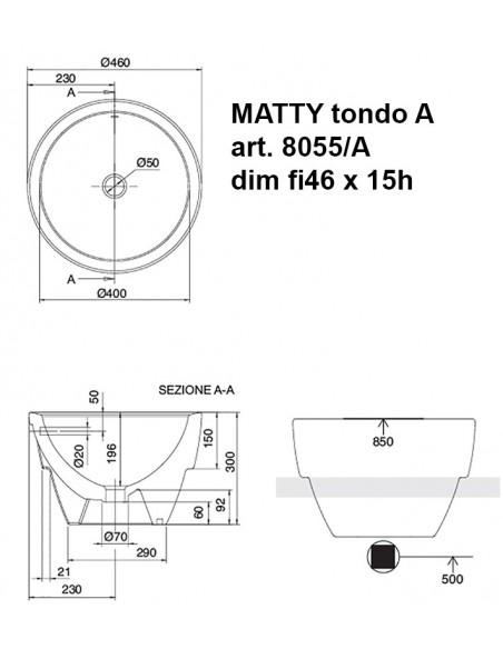 MATTY tondo art.8055/A  dim fi46x15h