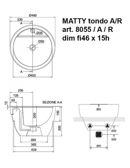 MATTY tondo art.8055/A/R  dim fi46x15h