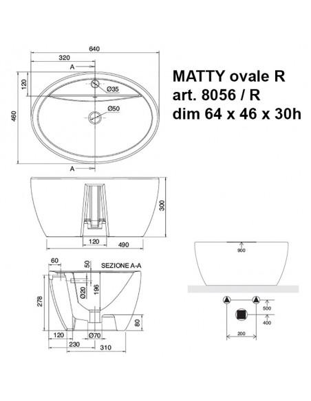 MATTY ovale art.8056/ R dim 64x46x30h