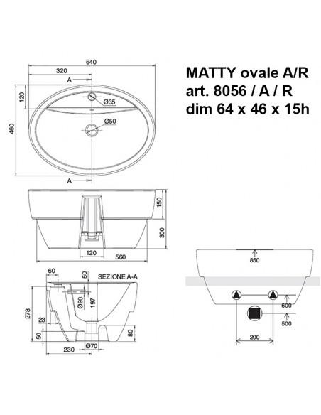 MATTY ovale art.8056/ A / R  dim 64x46x15h