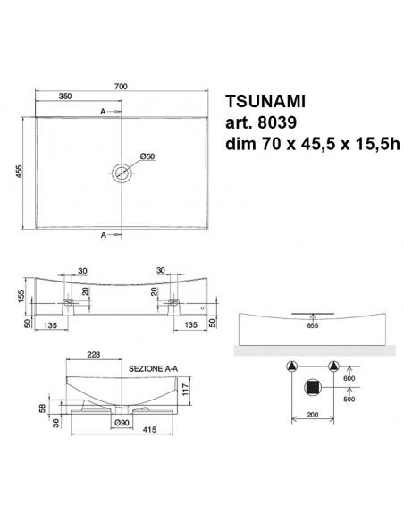 TSUNAMI art. 8039 Lavabo dim 70x45.5x15.5h