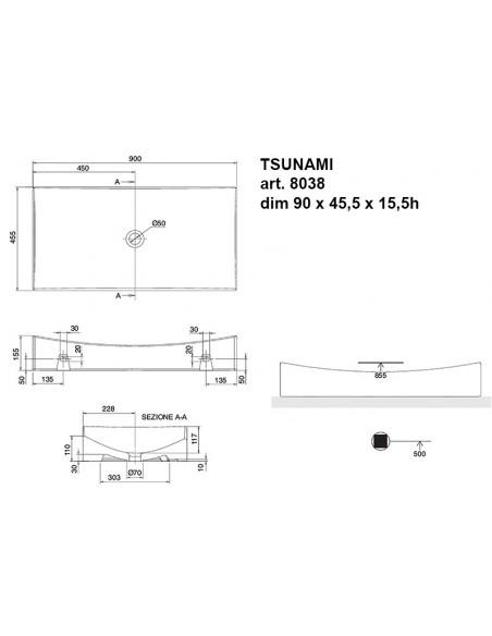 TSUNAMI art. 8038 Lavabo dim 90x45.5x15.5h