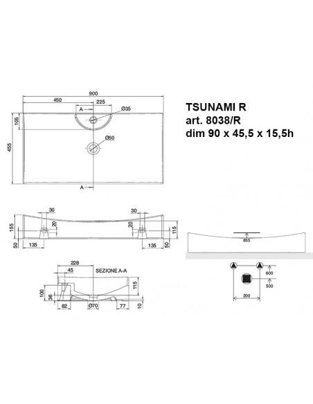 TSUNAMI art. 8038/ R Lavabo dim 90x45.5x15.5h
