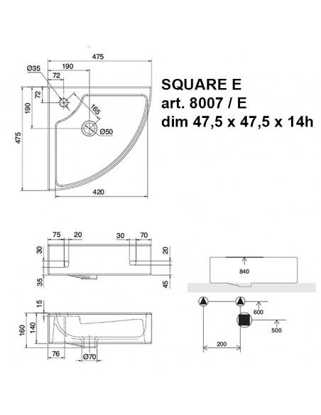 SQUARE E art. 8007/E Lavabo ugaoni dim 47.5x47.5x14h