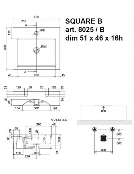 SQUARE B art.8025/B Lavabo dim 51x46x16h