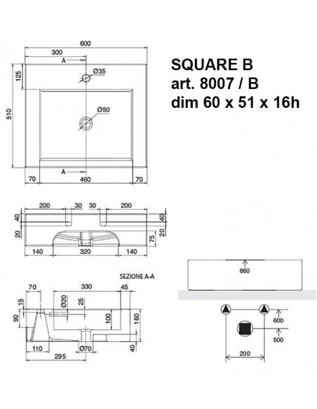 SQUARE B art.8007/B Lavabo dim 60x51x16h
