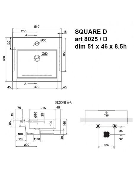 SQUARE D art. 8025/D Lavabo dim 51x46x8.5h
