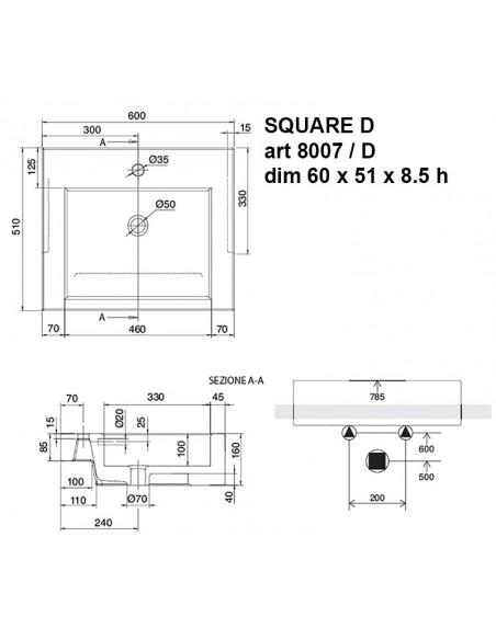 SQUARE D art.8007/D Lavabo dim 60x51x8.5h
