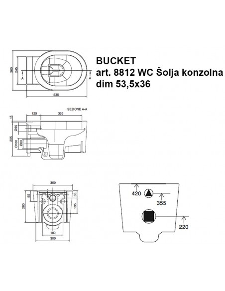 BUCKET art.8812 WC Šolja konzolna dim.53,5x36