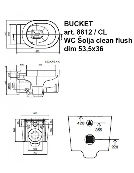 BUCKET art.8812/CL WC Šolja konzolna CLEAN FLUSH dim.53,5x36