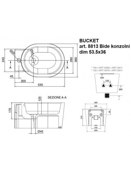 BUCKET art.8813 Bide konzolni dim.53,5x36
