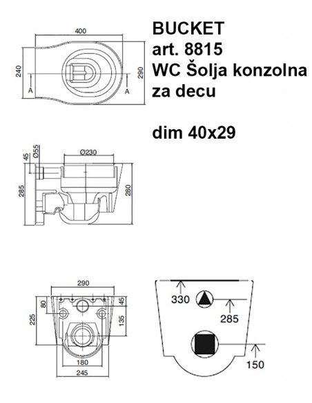 Bucket 8815 WC Šolja konzolna DEČJA dim 40x29