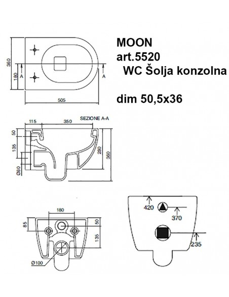 MOON art.5520 WC Šolja konzolna dim 50,5x36
